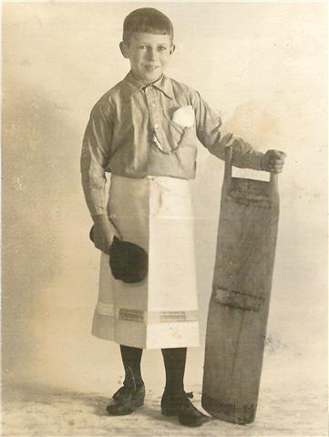 Henry Thrane som slagterlærling i 1920